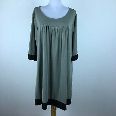 Chalet Dress Size XL Green Black 3/4 Sleeve Womens Shift Cotton Modal Lycra -