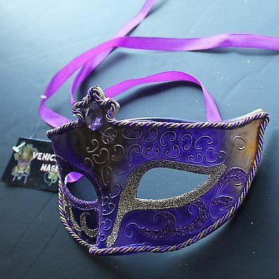 Regal Purple Venetian Masquerade Mask Party Prom Mardi Gras Halloween Costume - Purple Venetian Mask