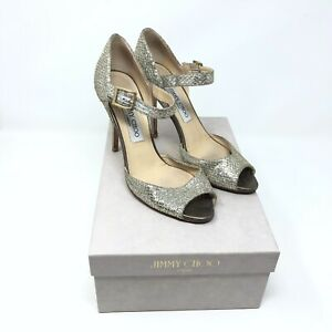 83bd76d1caa Jimmy Choo Lace Champagne Glitter Heels Silver Gold Mary Jane Wedding 37.5    7.5