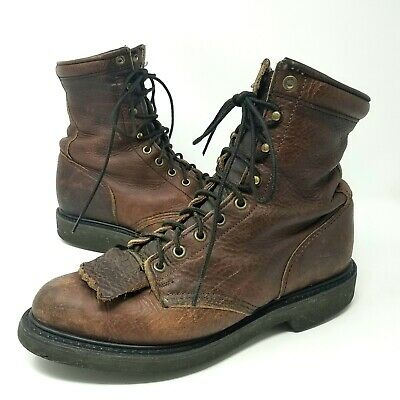 Double H Womens Lacer Kiltie Western Boots 9.5 M Brown Leather Lace Up Packer