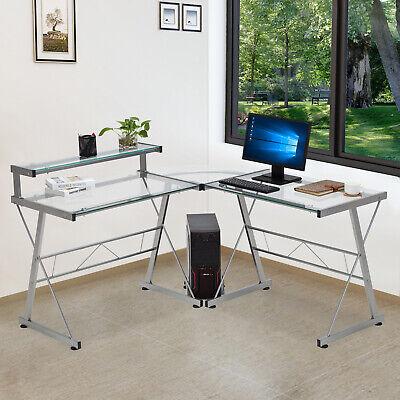 L-shape Pc Computer Desk Corner Glass Laptop Table Workstation Home Office Study