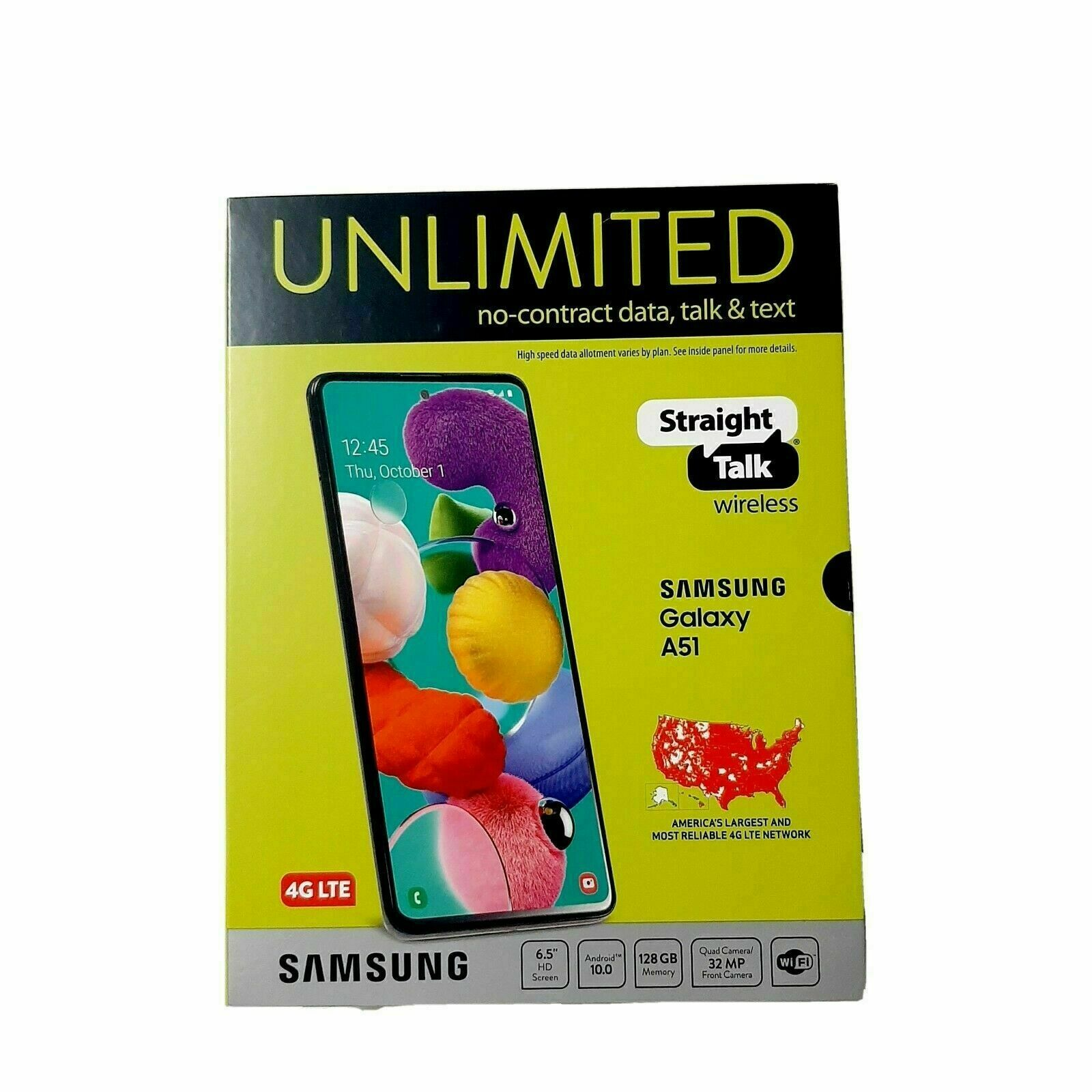 "Straight Talk SAMSUNG Galaxy A51 128GB 48MPCam 6.5"" Display Black Prepaid Phone"