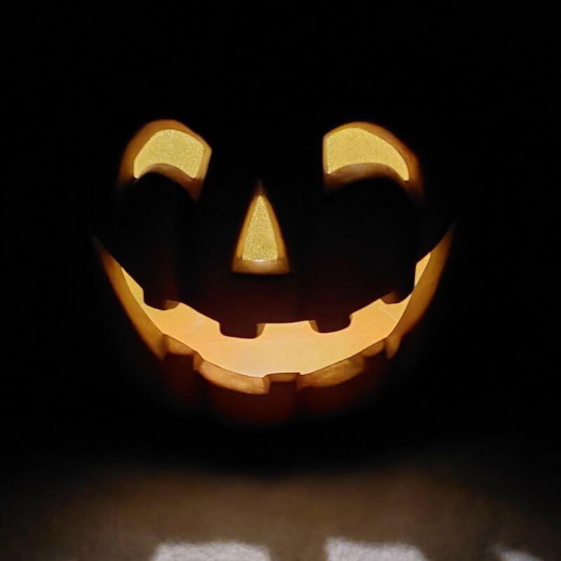 "Halloween Decor Electric Light Up Carved 10"" Pumpkin Smiling Face Jack O Lantern"