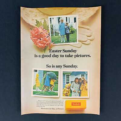 """1968 KODAK Easter Sunday Photograph Picture 60s Family Vintage Print Ad 13.5"""""""
