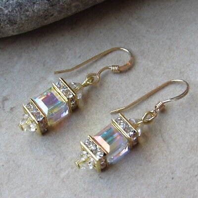 *SJ1* 14K Gold GF Hook Dangle Earrings w/ AB Swarovski Crystal Cube ()