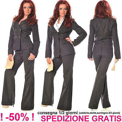 Elegante Giacca Gessata Donna Grigio Scuro Business Blazer da Cerimonia Ufficio