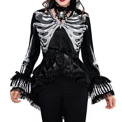Damen Steampunk Skelett Knochen Jacke Blazer Piraten Viktorianisch Halloween