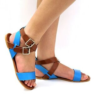 New Womens TS6 Black Blue Coral Gladiator Strappy Flat Sandals sz 5 to 10