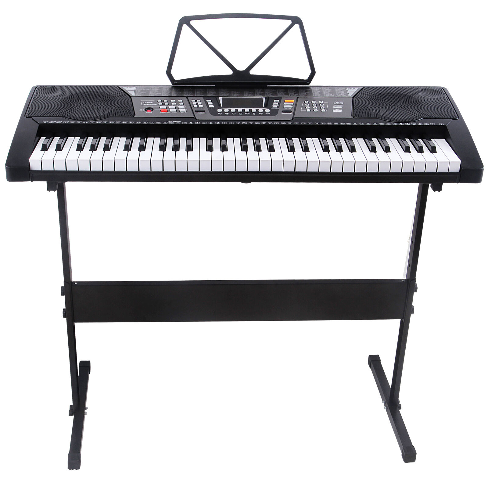 black 61 key music electronic keyboard electric digital piano organ w stand ebay. Black Bedroom Furniture Sets. Home Design Ideas