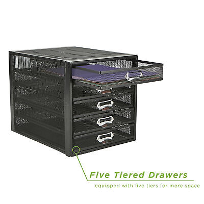 Mind Reader Heavy Duty 5 Drawer Office File Storage Cabinet With Drawers Black