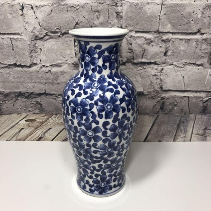 """Porcelain Blue & White Floral Pattern 9.75"""" Decorative Vase Decor"""