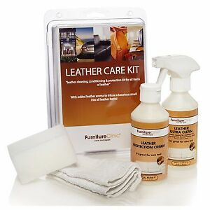 leather care kit cleans protects nourishes leather used by professionals - Leather Furniture Care Kit