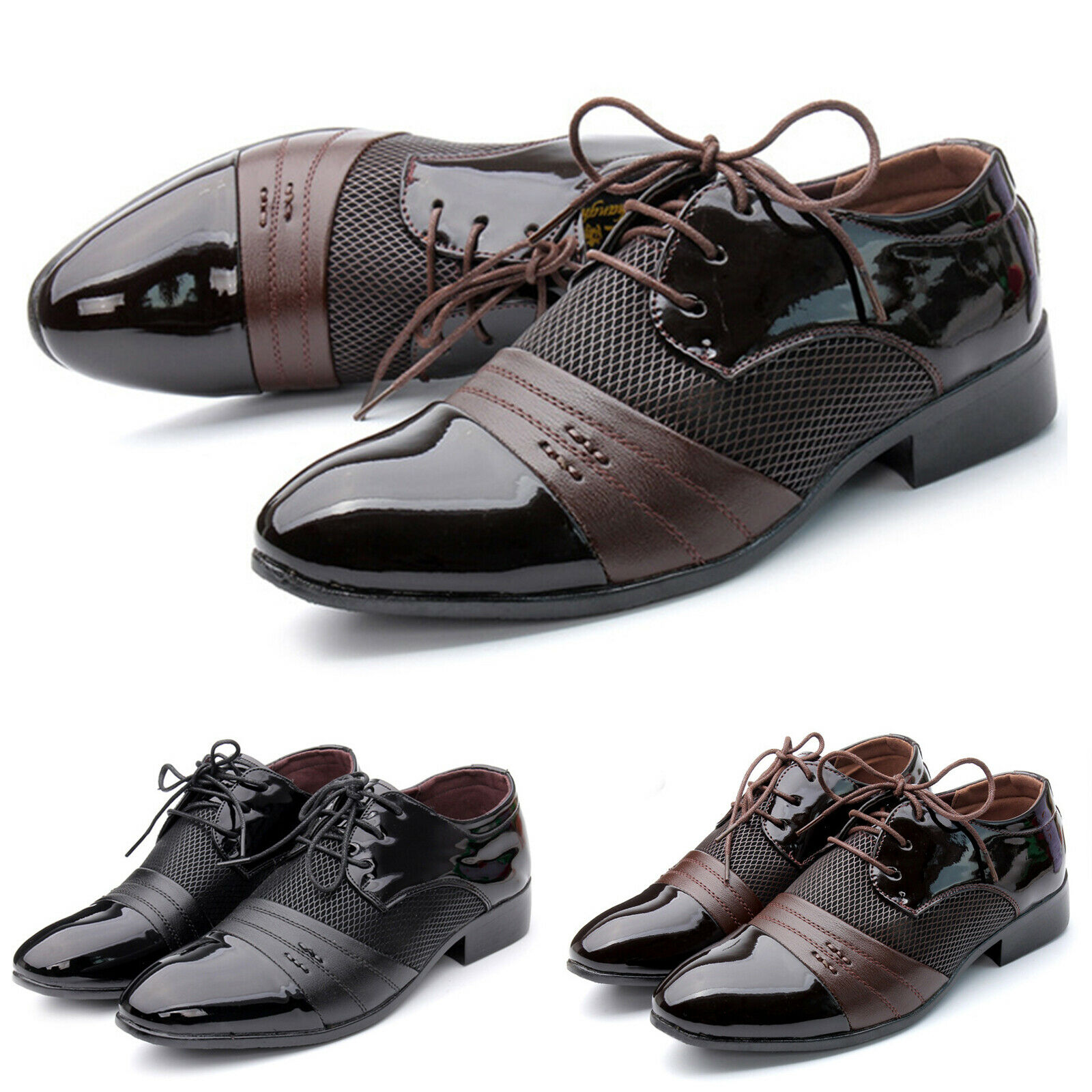 Men's Lace Up Oxfords Leather Shoes Breathable Wedding Dress Business Casual New