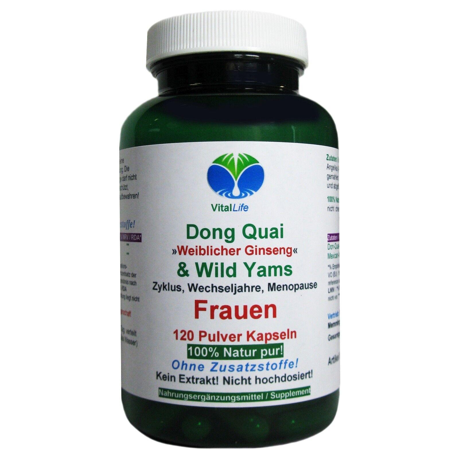 Dong Quai & Wild Yams 120 Pulver Kapseln Ohne Zusatzstoffe Natur Pur. 26406