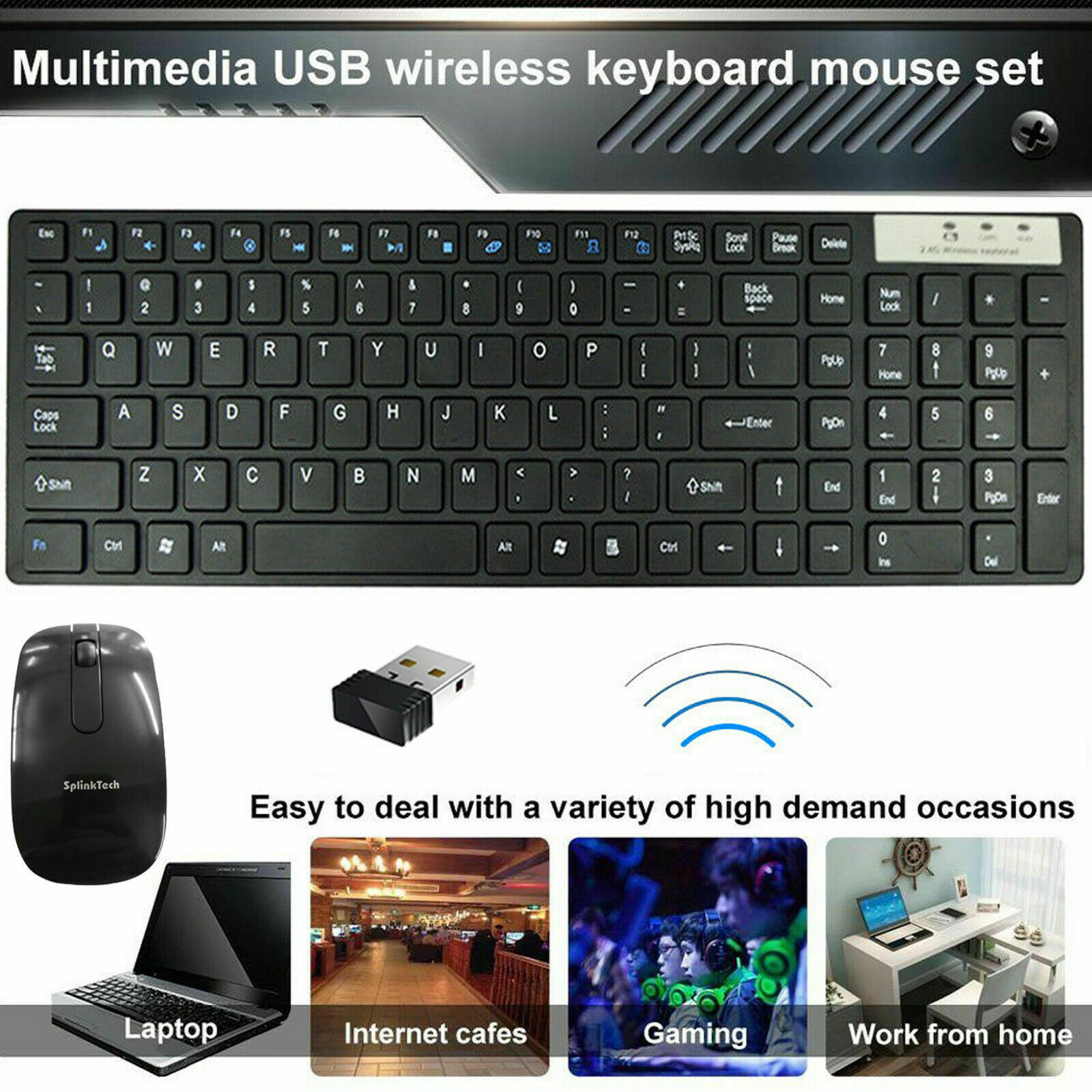 Slim 2.4G Wireless Keyboard and Cordless Optical Mouse Combo For PC Laptop Uk