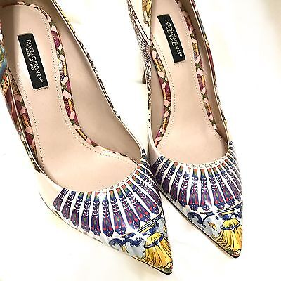 $1095 Dolce Gabbana Patent Print Yellow Leather Pumps Pointy Toe Shoes 36.5