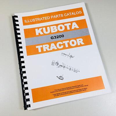 Kubota G3200 Tractor Parts Assembly Manual Catalog Exploded Views Numbers