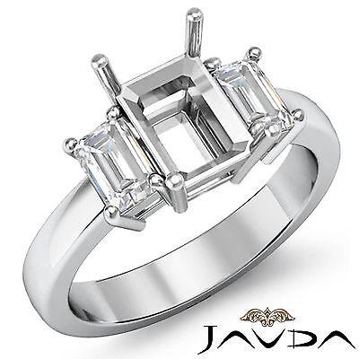 Emerald Semi Mount Ring - 3 Stone Diamond Classic Engagement Emerald Semi Mount Ring 18k White Gold 0.5Ct