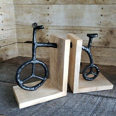 Rustic Cast Metal Bicycle Bookends Vtg Style Bike Primitive Peace Sign Book Ends