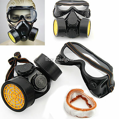 INDUSTRIAL CHEMICAL GAS ANTI-DUST SPRAY PAINT DUAL RESPIRATOR MASK WITH GOGGLES