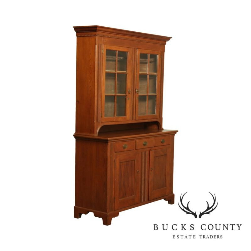 Antique American Southern Pine Stepback Cupboard