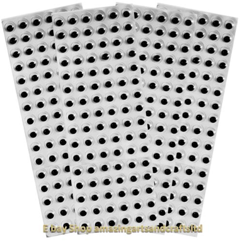 Self Adhesive wiggle googly sticky eyes on sheets 10mm 384