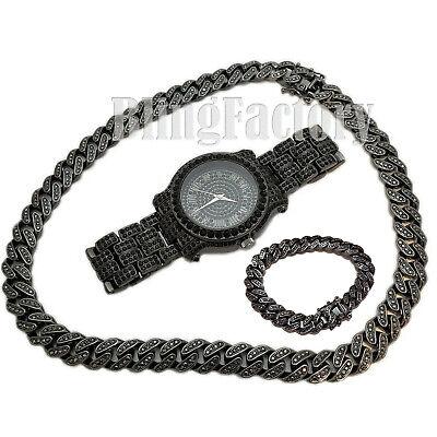"Hip Hop Iced Black Watch & 18"" Miami Cuban Box Lock Choker Chain & Bracelet Set"
