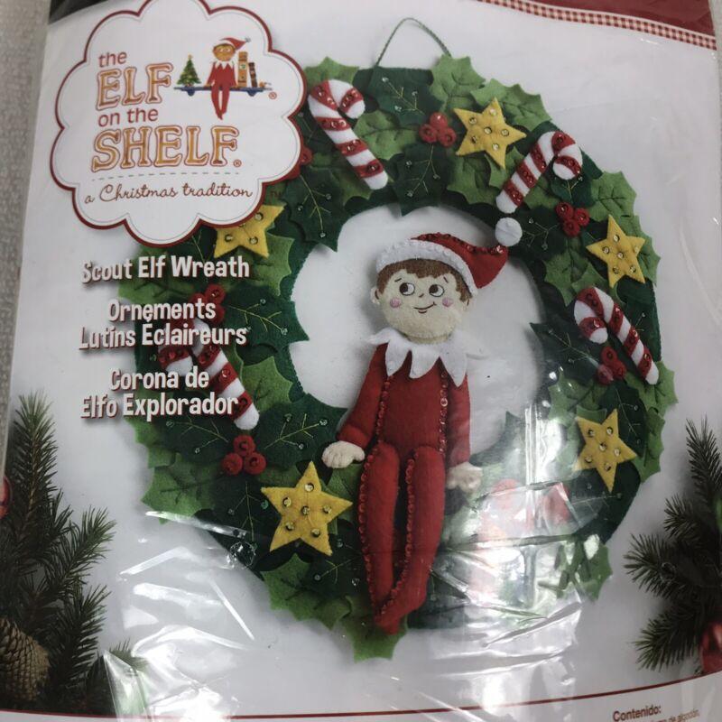 Bucilla Elf On The Shelf Wreath Felt Kit 86510 A Christmas Tradition Scout Elf