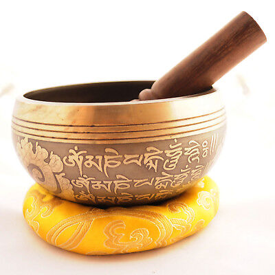 "Tibetan Nepalese Buddhist Hammered Pure Bronze 4"" Singing Bowl Nepal SB12a"