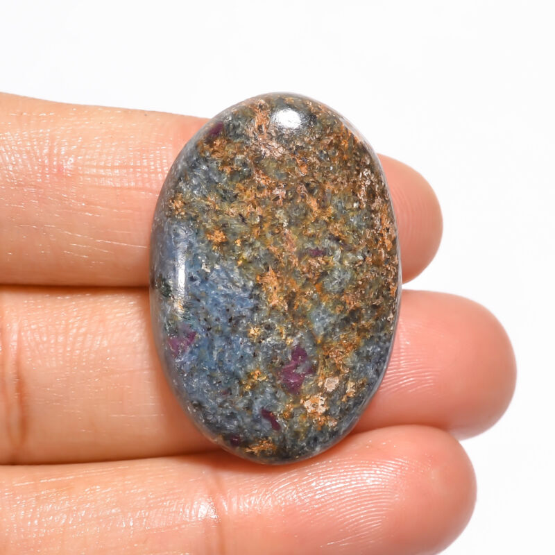 Natural Ruby Fuchsite Oval Shape Cabochon Loose Gemstone 44 Ct 32X22X6mm EE19048