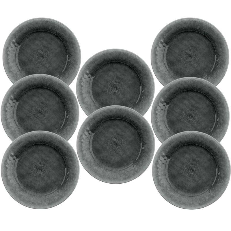 Potters Reactive Glaze GREY Melamine Dinner Plate x 8