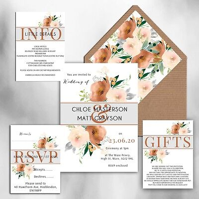 WEDDING INVITATIONS Personalised Rustic Cocoa & Blush floral packs of -