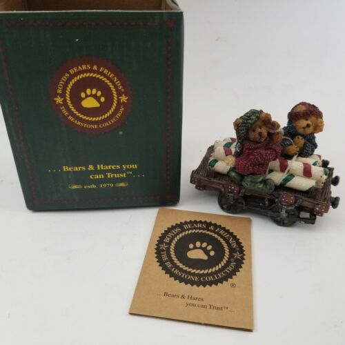 Boyds Bears The Bearstone Collection #2486 Peppermint & Spearmint... Sweet Ride