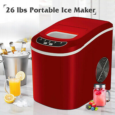 26lbsday Portable Electric Ice Maker Cube Machine Countertop Home Red
