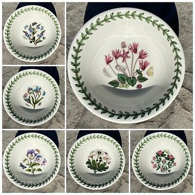 """Portmeirion Botanic Garden 5"""" Rimmed Sorbet / Gelato Bowls (6) Dishwasher Safe"""