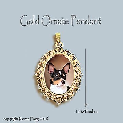 RAT TERRIER DOG - ORNATE GOLD PENDANT NECKLACE