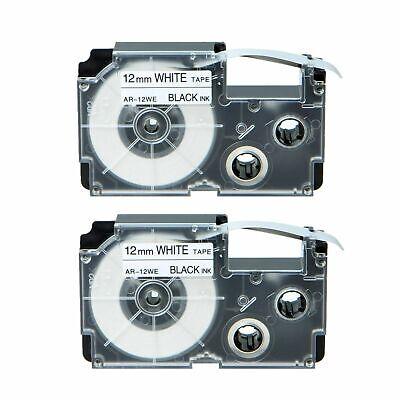 2-pkpack Xr-12we For Casio Label Tape Black On White 12mm 12 Kl430 Kl-100