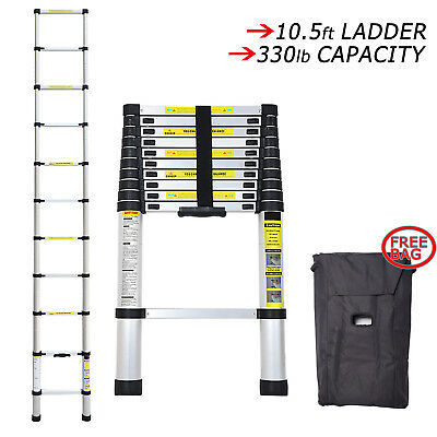 10.5ft Multi-purpose Step Aluminum Extension Extendable Ladder Telescopic W Bag
