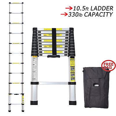 10.5ft Multi-Purpose Step Aluminum Extension Extendable Ladder Telescopic W/ Bag