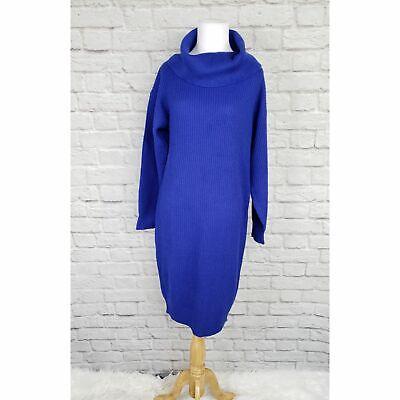 Vintage 80s 1980s  Royal Blue Cowl Neck Sweater Dress Acrylic Fits M/L