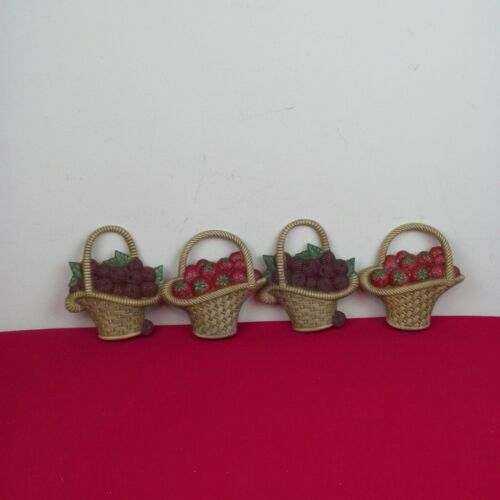 Vintage 1985 Burwood Products Fruit Baskets Wall Hanging Raspberry Strawberry