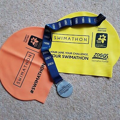 Marie Curie Swimathon 2017 Medal 5cm wide + 2 x Swimming Caps