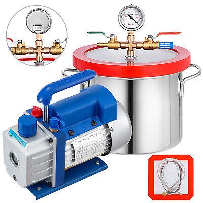 3 Cfm Vacuum Pump 1 Gallon Vacuum Chamber 220ml Degassing 84lmin Deep Vane