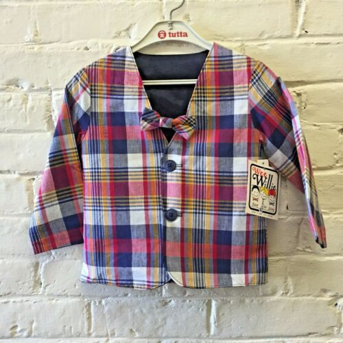 New Vtg 60s 2T Madras Plaid Jacket Bow Tie Wee Willie