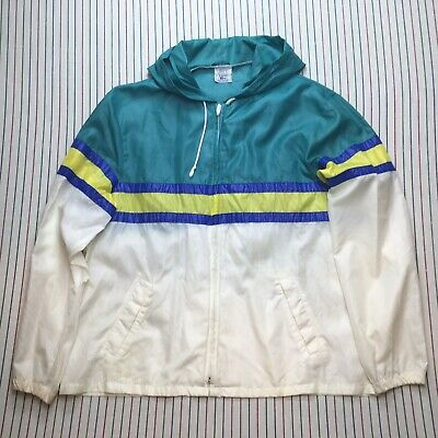 292 Vtg Mens Lacoste Izod Windbreaker MULTICOLOR Full Zip Jacket 80s Pullover XL