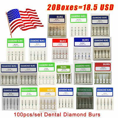 100pcs Dental Diamond Burs Bits Drill Fg 1.6mm For High Speed Handpiece Xl