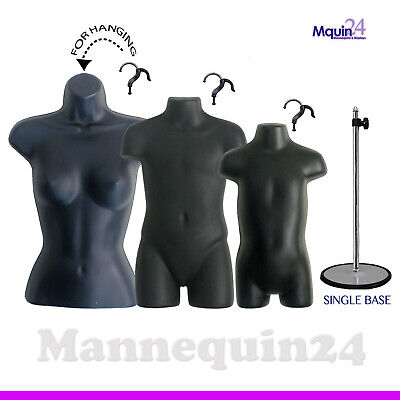 3 Torso Dress Form Mannequinsfemale Child Toddler Set 1 Stand 3 Hangers