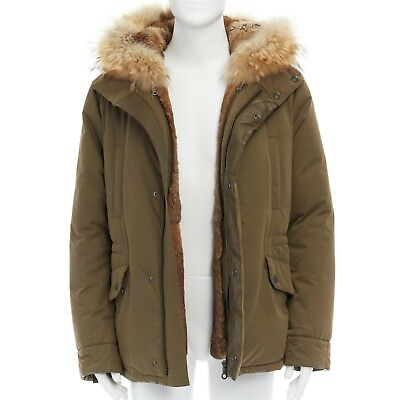 YVES SALOMON HOMME brown rabbit fur lined hooded padded green parka coat L
