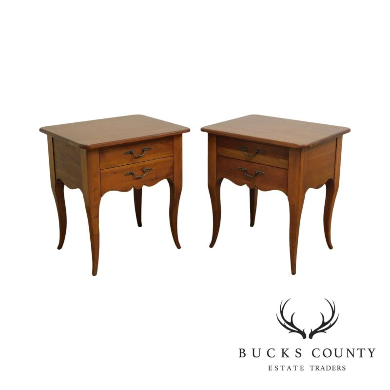 "Ethan Allen ""Maison"" French Country Style Cherry Pair Nightstands"