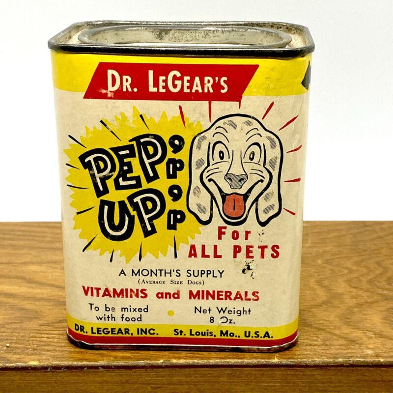 Rare DR. LEGEAR'S PEP UP VITAMINS & MINERALS PETS TIN DOG CAT PUPPIES BIRD STORE
